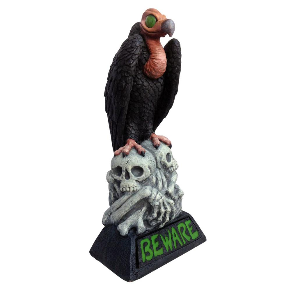 28.25 in. H LED Beware Vulture Light-Up Lawn Statuary