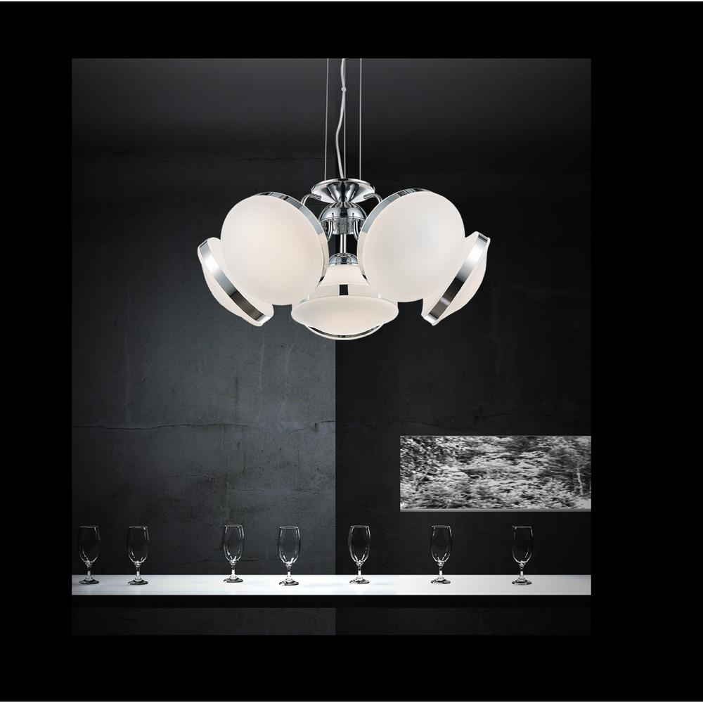 Frosted 6-Light Chrome Chandelier