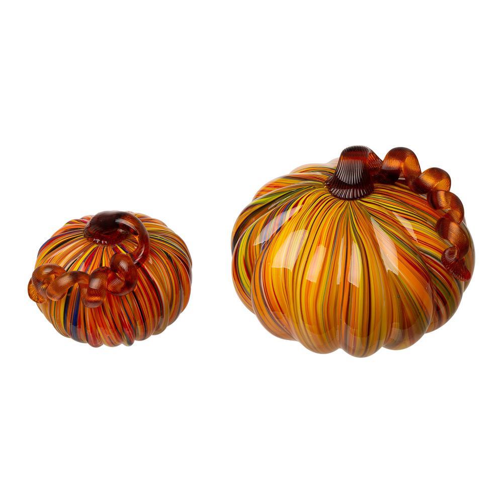 6.50 in. H S/2 Multi-Striped Glass Short Pumpkin