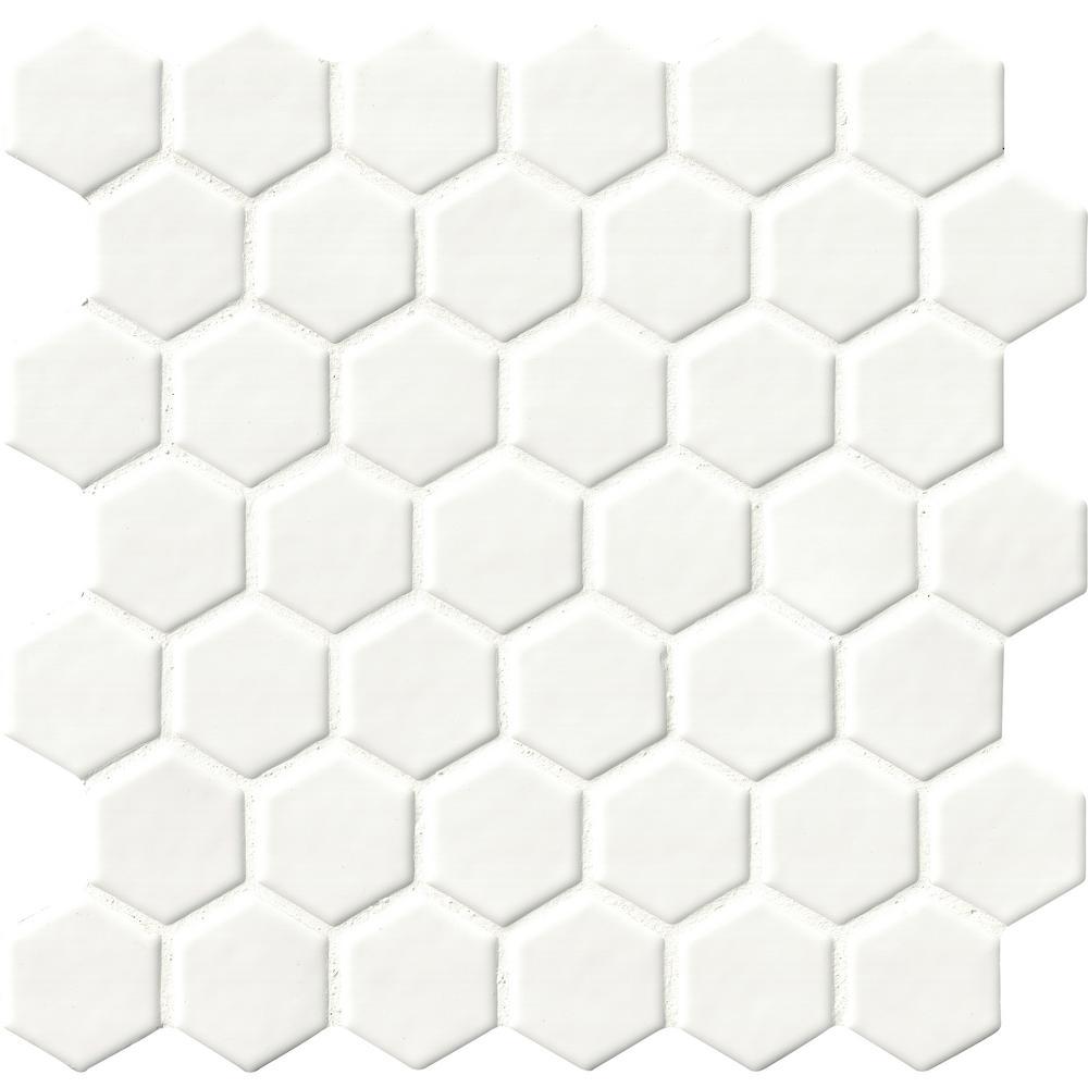 Whisper White Hexagon 12 in. x 12 in. x 8mm Ceramic Mesh-Mounted Mosaic Tile (10 sq. ft. / case)