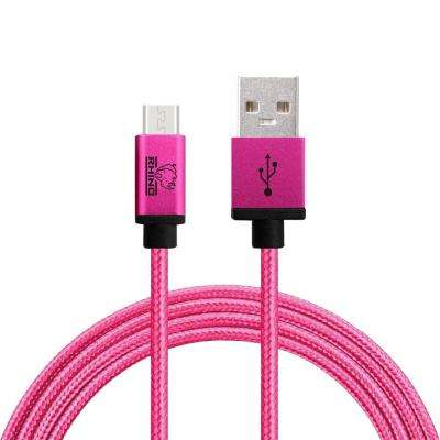 3 ft. Braided Nylon USB Type C Male to USB Type A Cable, Pink