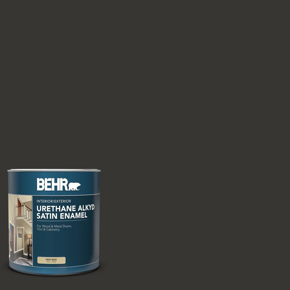 BEHR 1 qt. #AE-54 Molten Black Satin Enamel Urethane Alkyd Interior/Exterior Paint