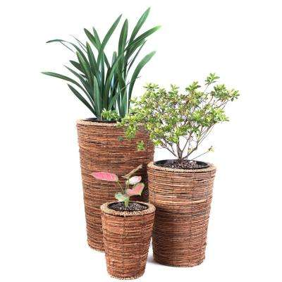 Wicker Banana Rope Tall Floor Plant Stand (Set of 3)