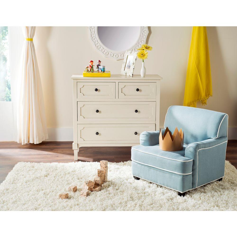 Safavieh Blue White Upholstered Chair Blue White Moppett Image