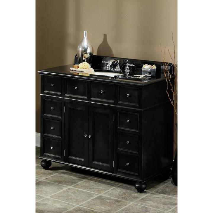 Home Decorators Collection Hampton Bay Sink Cabinet With Black Granite Top in Black Finish