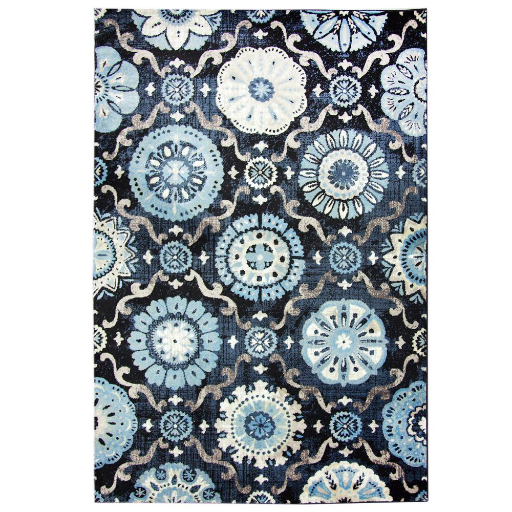 Fabulous Carpet Art Deco Bazaar Medallion Navy 8 ft. x 10 ft. Area Rug  AT18