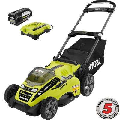 20 in. 40-Volt Brushless Lithium-Ion Cordless Battery Walk Behind Push Lawn Mower 5.0 Ah Battery/Charger Included