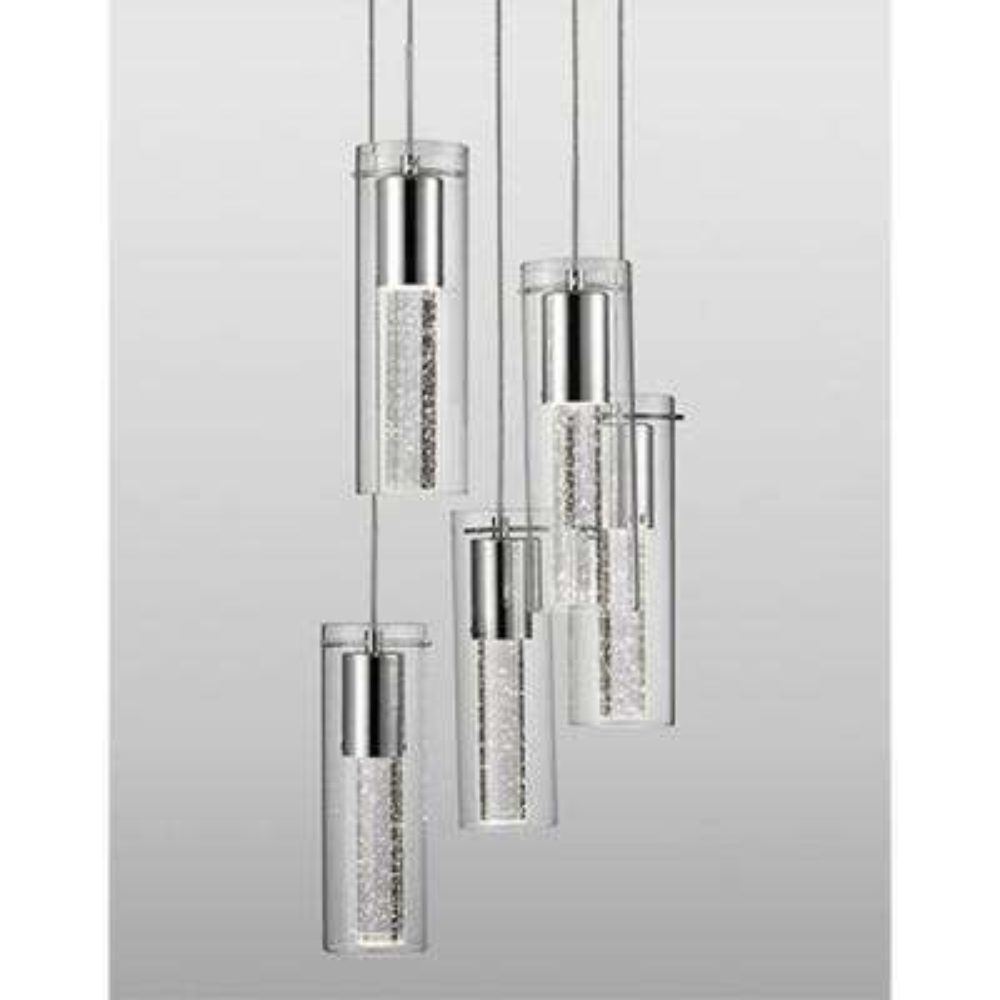 Kara 5-Light 60-Watt Equivalence Chrome Integrated LED Pendant