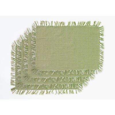 Homespun Fringed Sage 100% Cotton Placemat (Set of 4)