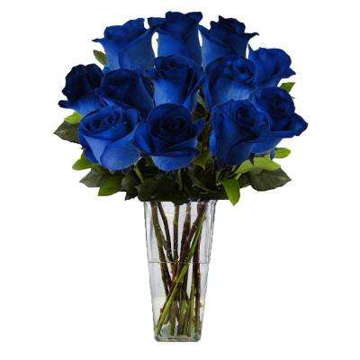 Gorgeous Blue Rose Bouquet in Clear Vase (12 Stem) Overnight Shipping Included