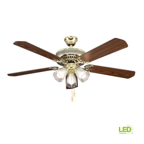 Hampton Bay 52 In Led Landmark Indoor Polished Brass Ceiling Fan With Light Kit Hl52qvp 3lc14 C The Home Depot
