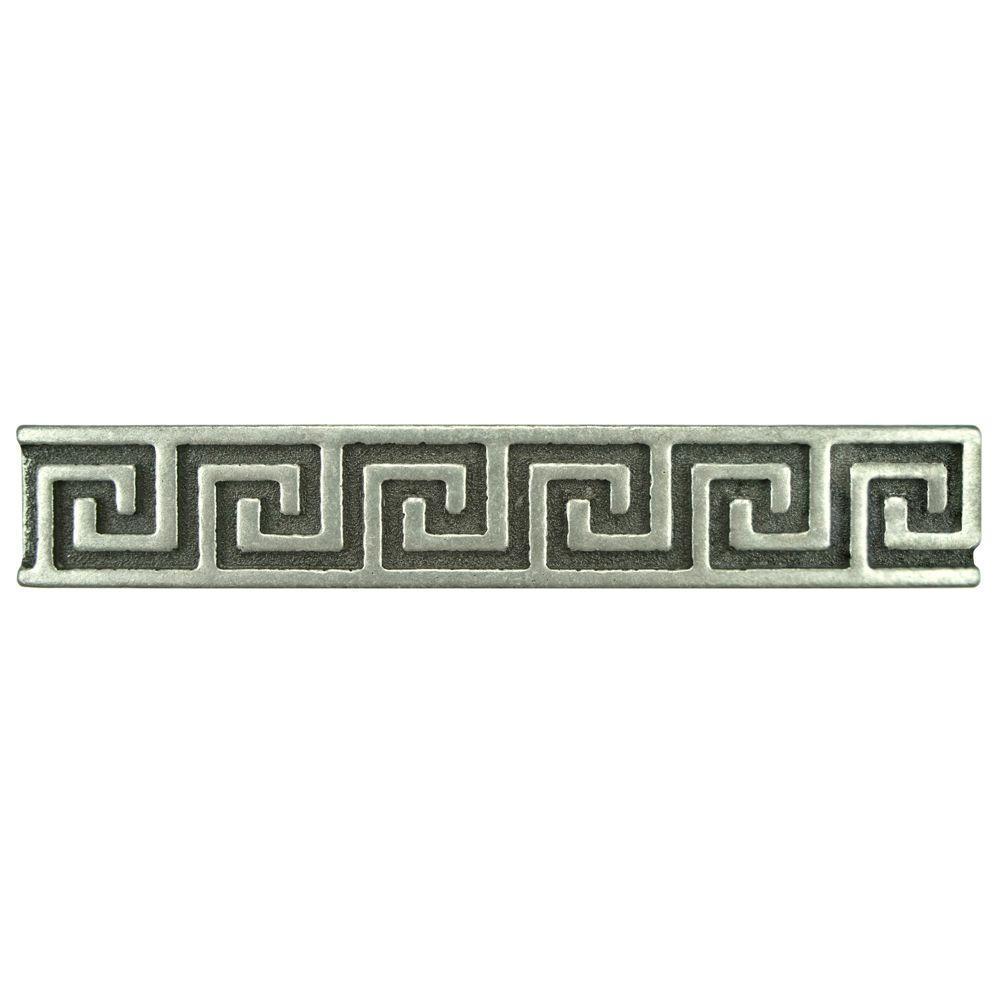 Merola Tile Contempo Greek Key Pewter Liner 6 in. x 1 in. Metallic Wall Trim Tile