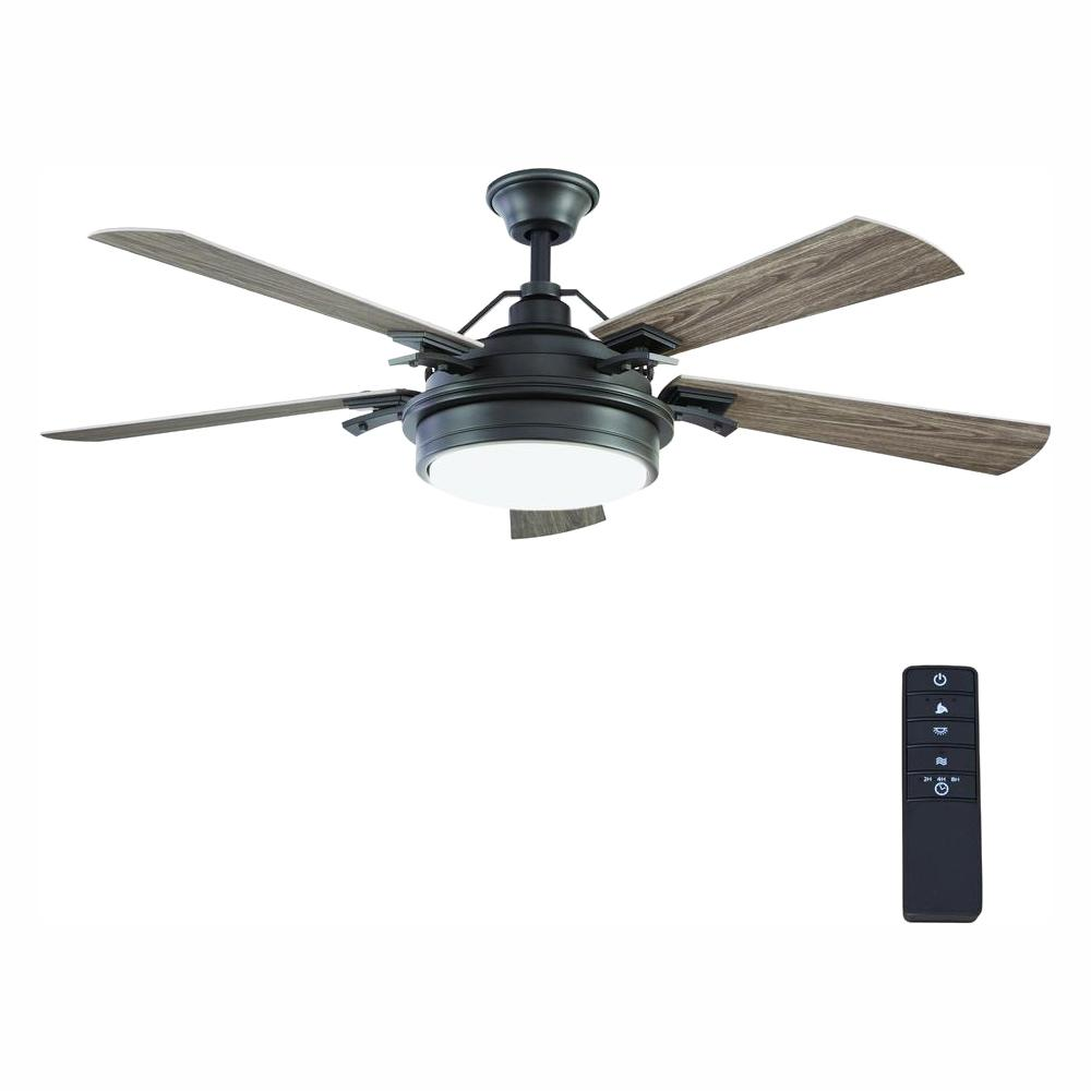 HomeDecoratorsCollection Home Decorators Collection Westerleigh 54 in. Integrated LED Indoor/Outdoor Natural Iron Ceiling Fan with Light Kit and Remote Control