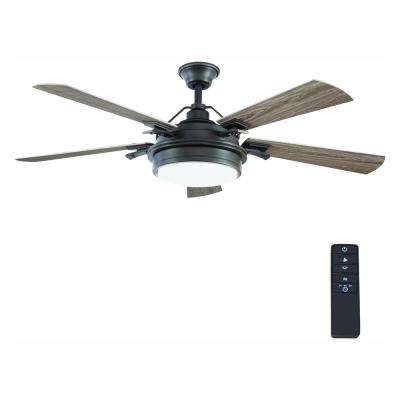 Westerleigh 54 in. Integrated LED Indoor/Outdoor Natural Iron Ceiling Fan with Light Kit and Remote Control