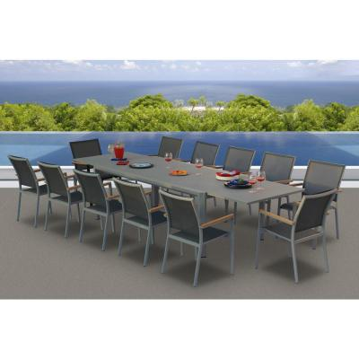 Essence.G Grey Seagull 13-Piece Aluminum Outdoor Dining Set with Sling Set in Pewter