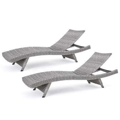 Zyaire Grey 2-Piece Wicker Outdoor Chaise Lounge