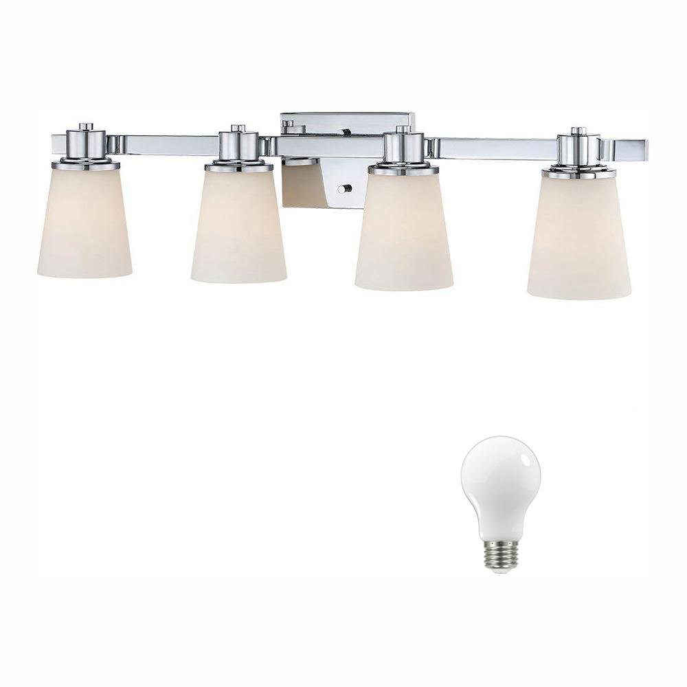 Home Decorators Collection 4-Light Chrome Bath Vanity Light with Bell Shaped Etched White Glass, Dimmable LED Daylight Bulbs Included