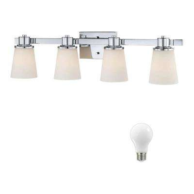 4-Light Chrome Bath Vanity Light with Bell Shaped Etched White Glass, Dimmable LED Daylight Bulbs Included