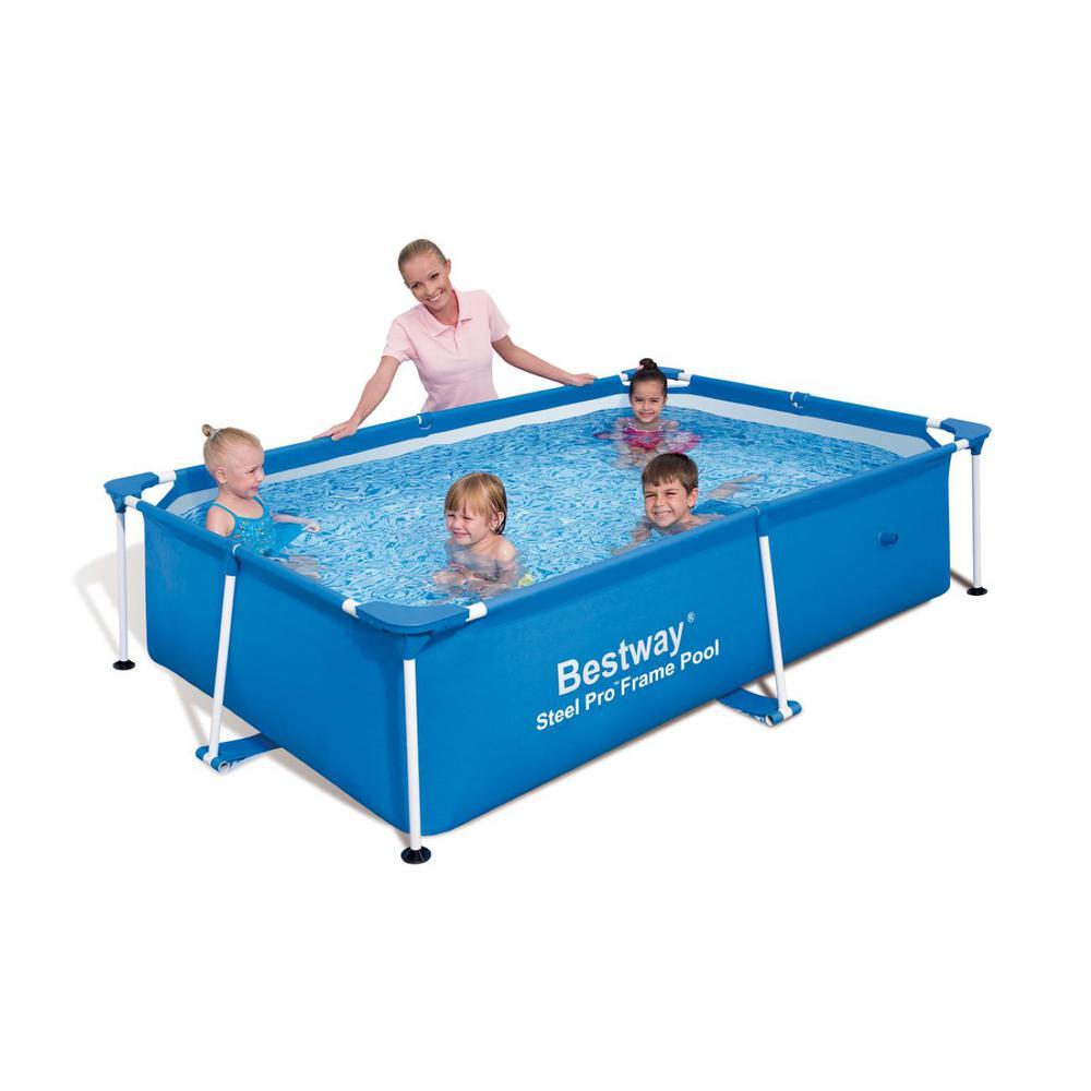 94 in. x 59 in. Rectangular 23 in. Bestway Splash Frame Kids Swimming Pool