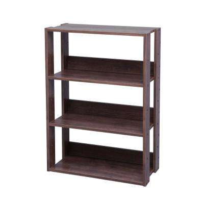 Dark Brown Mado 3-Shelf Wide Open Wood Shelving Unit
