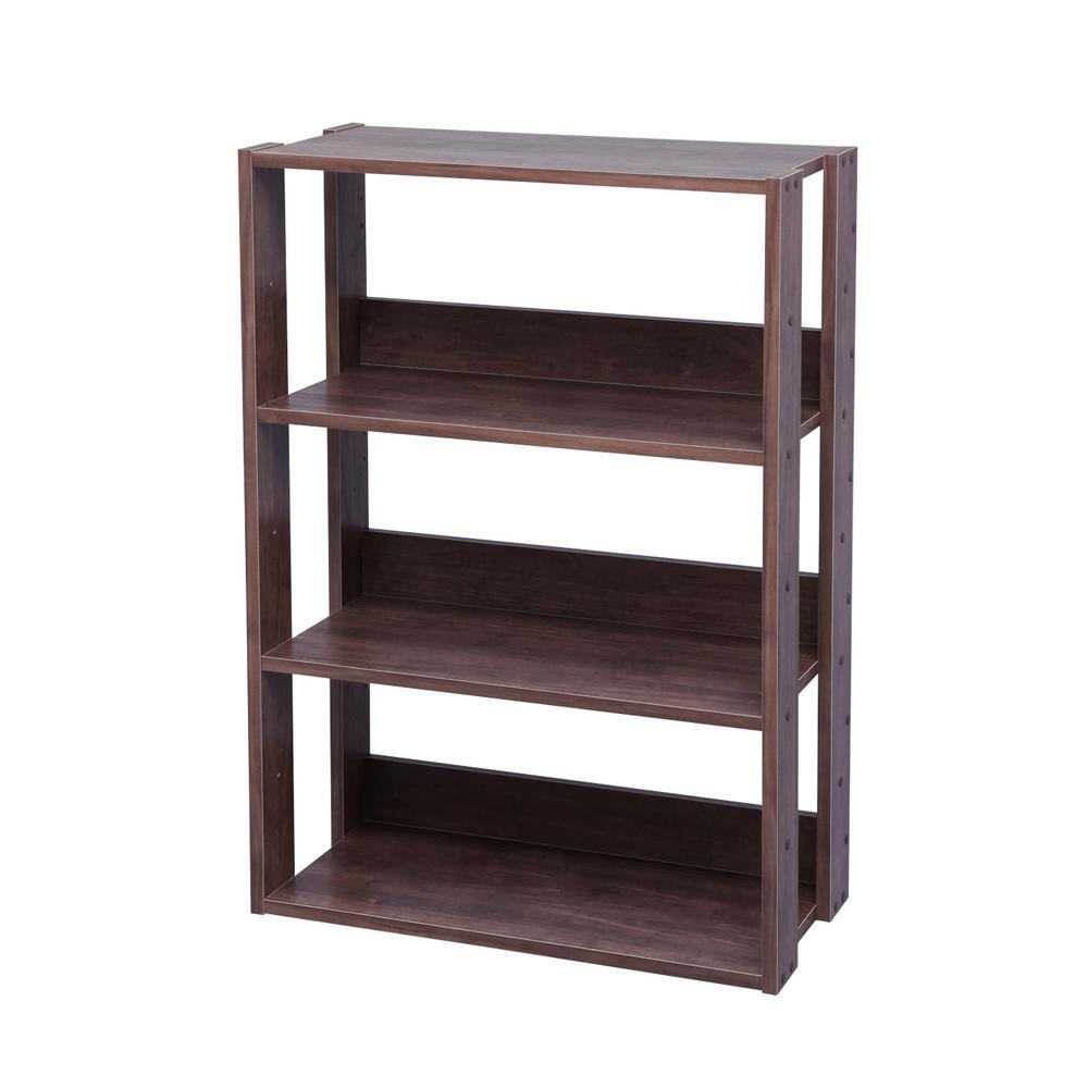 IRIS Dark Brown Mado 3-Shelf Wide Open Wood Shelving Unit 596229