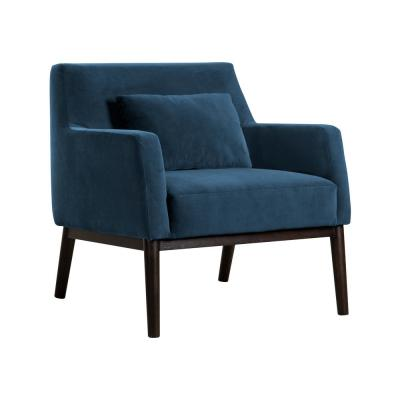 Oliver Blue Velvet Modern Accent Chair with Wood Legs