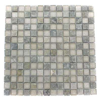 Tectonic Squares Green Quartz Slate and White 12 in. x 12 in. x 8 mm Glass Mosaic Floor and Wall Tile