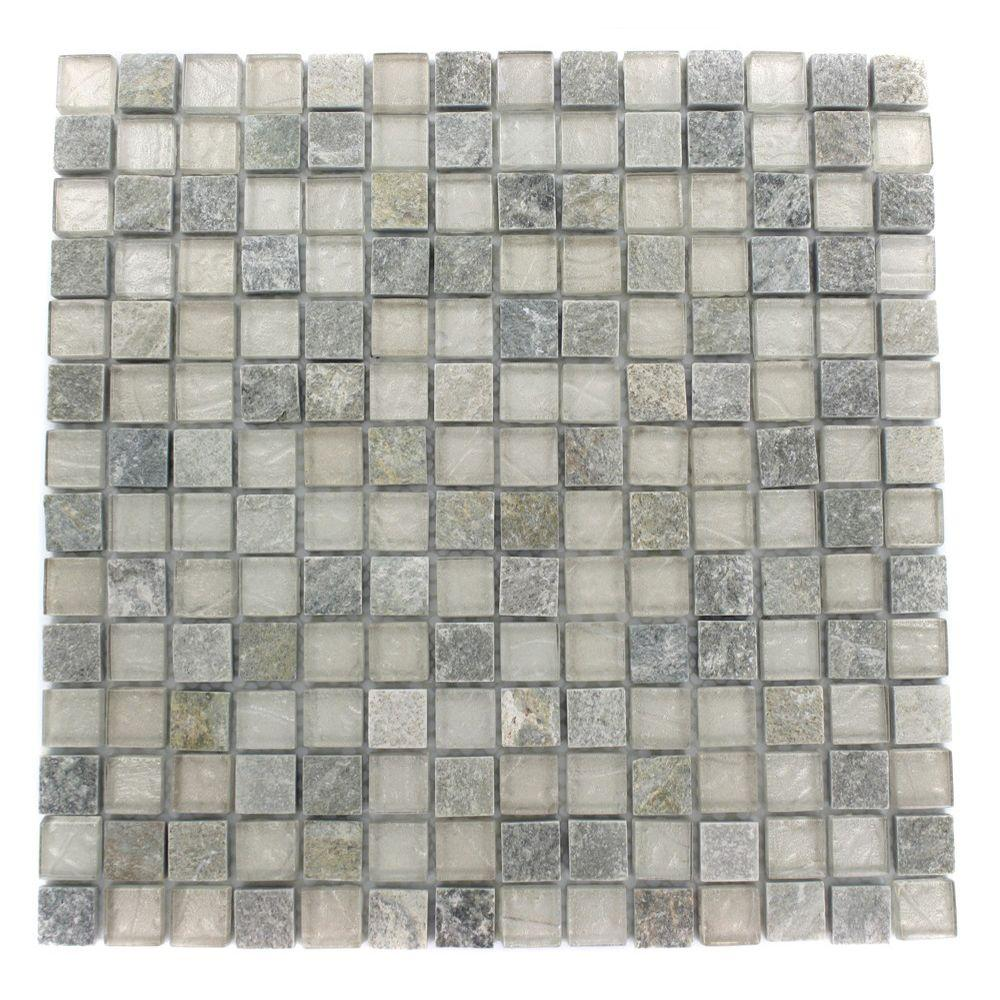 Splashback Tile Tectonic Squares Green Quartz Slate and White 12 in. x 12 in. x 8 mm Glass Mosaic Floor and Wall Tile