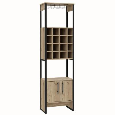 Emery 71 in. x 20 in. Natural Wood High Bar Cabinet with Fifteen Compartments