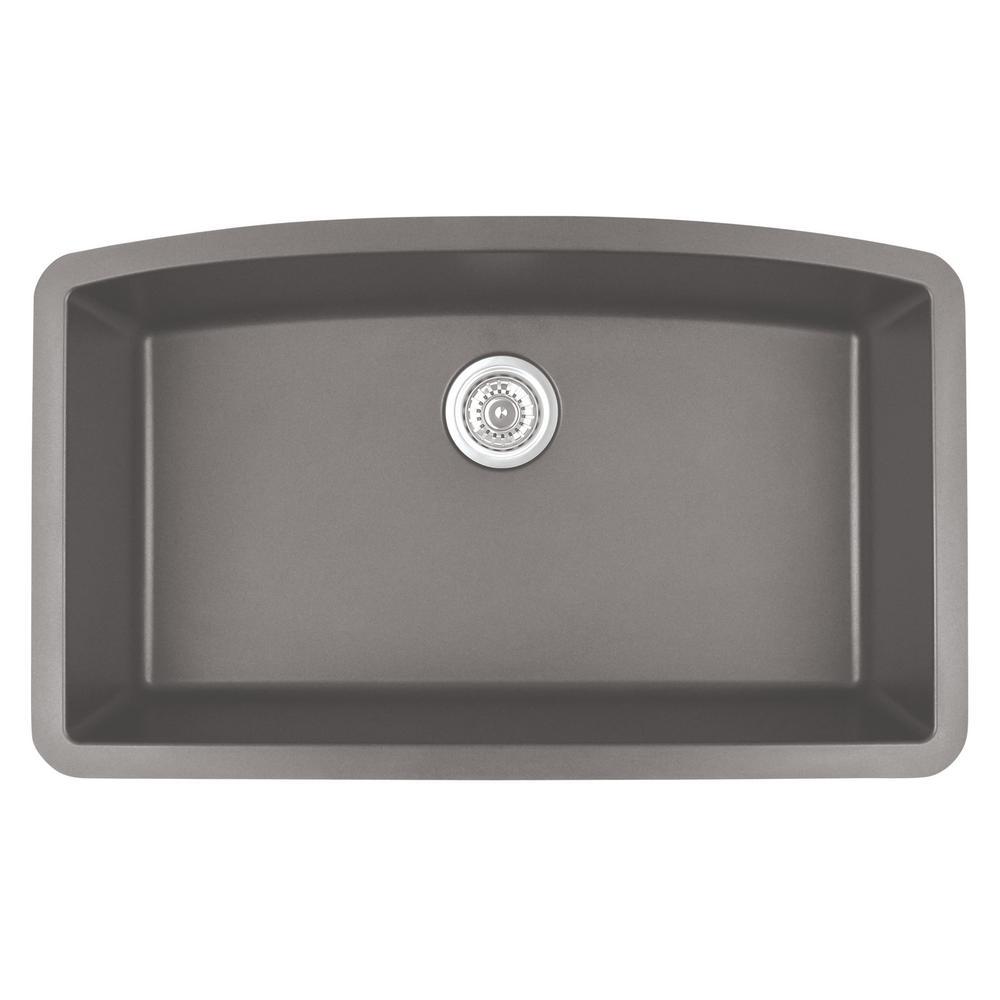 Undermount Quartz Composite 32 in. Single Bowl Kitchen Sink in Concrete