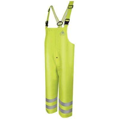 Overall CAT2 Men's 3X-Large Yellow/Green Hi-Visibility Flame-Resistant Rain Bib