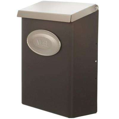 Designer Venetian Bronze with Satin Nickel Decorative Emblem Locking Vertical Wall-Mount Mailbox