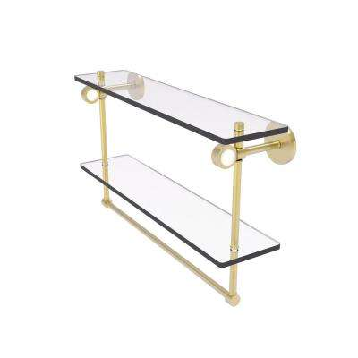 Clearview Collection 22 Inch Double Glass Vanity Shelf with Integrated Towel Bar in Satin Brass