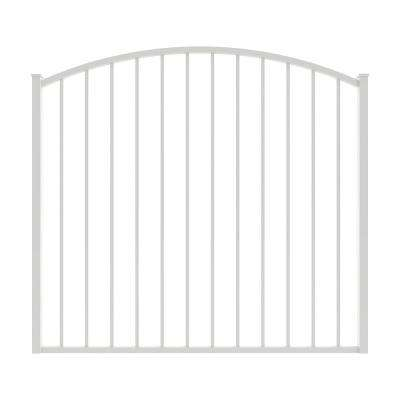 Newtown 5 ft. W x 4 ft. H White Aluminum Arched Pre-Assembled Fence Gate