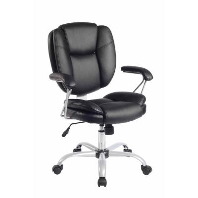 Black Plush Task Office Chair with Techniflex Upholstery