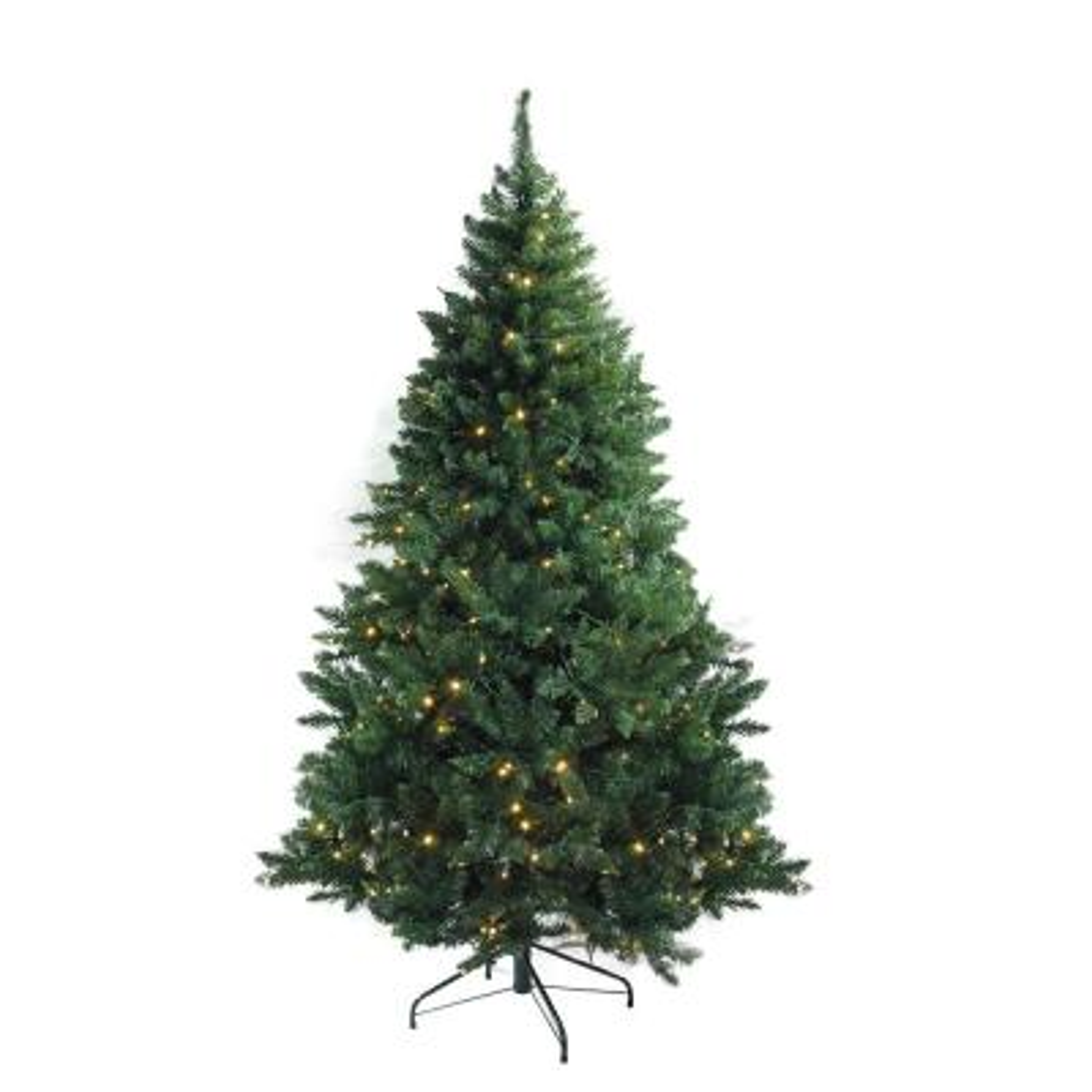 6.5 ft. x 49 in. Pre-Lit Buffalo Fir Medium Artificial Christmas Tree Warm White LED Lights