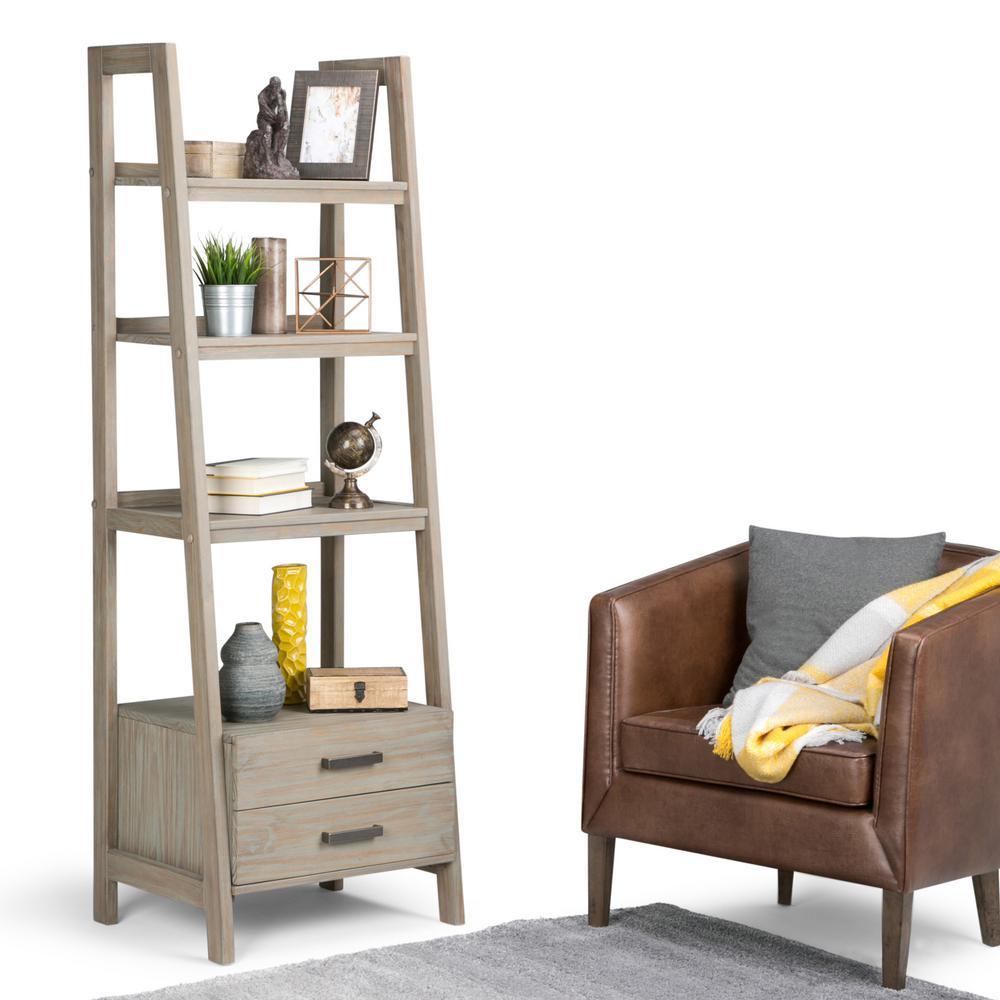 Sawhorse Distressed Grey Storage Ladder Bookcase