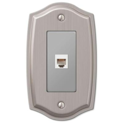 Vineyard 1 Gang Phone Steel Wall Plate - Brushed Nickel