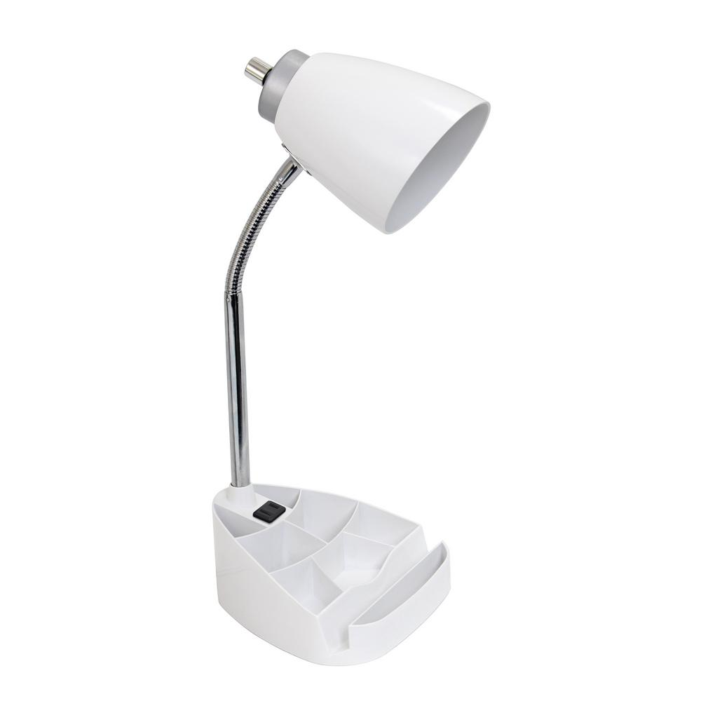 Simple Designs 18.5 in. Gooseneck Organizer Desk Lamp with Holder and Charging Outlet, White