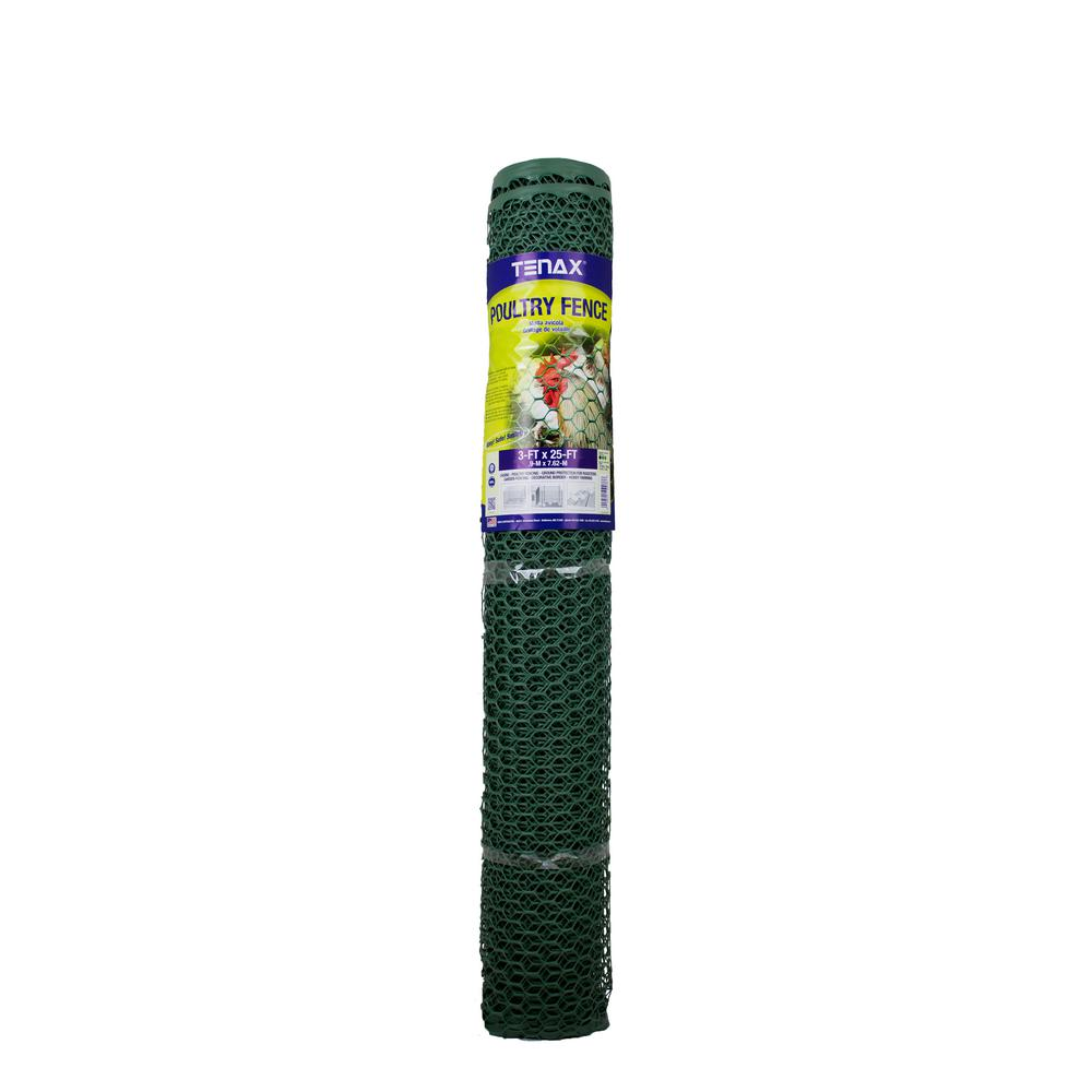 Tenax 3 ft. x 25 ft. Green Poultry Hex Fence