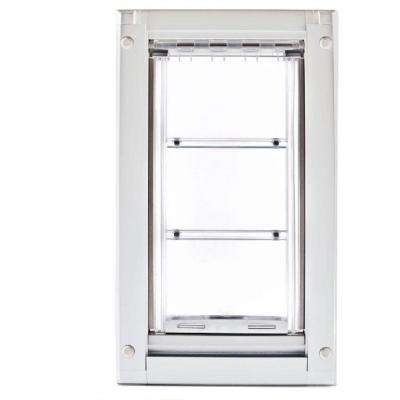 14 in. L x 8 in. W Medium Double Flap for Doors with White Aluminum Frame