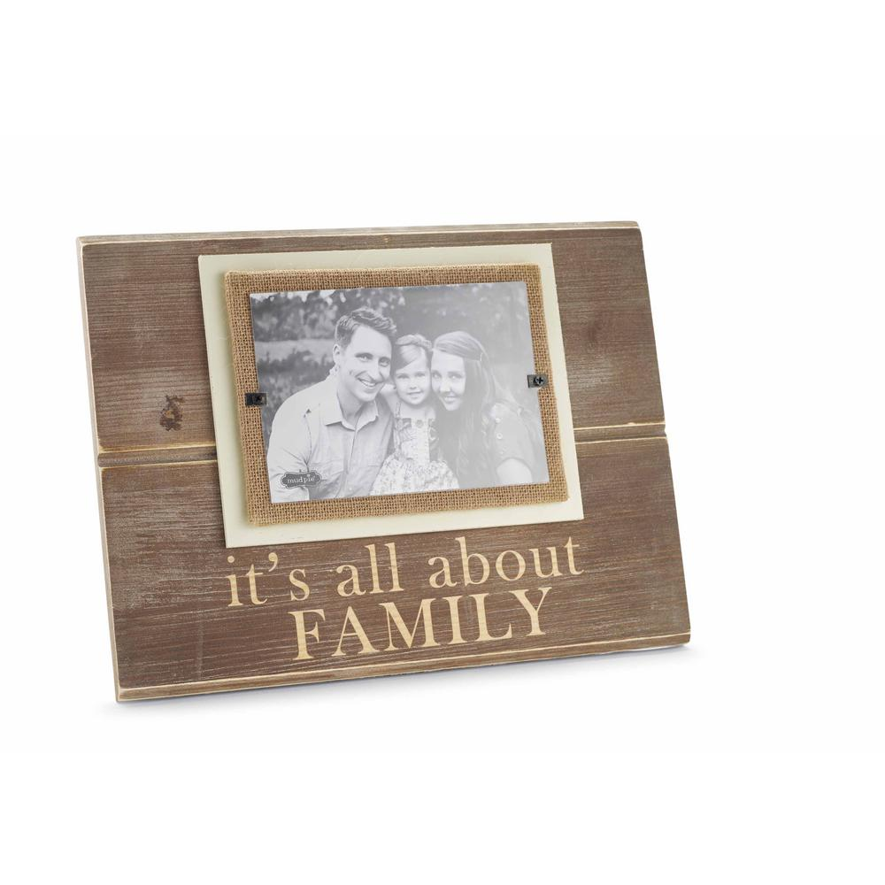 Family 5 in. x 7 in. Horizontal Pine Frame with Burlap Mat-195113 ...