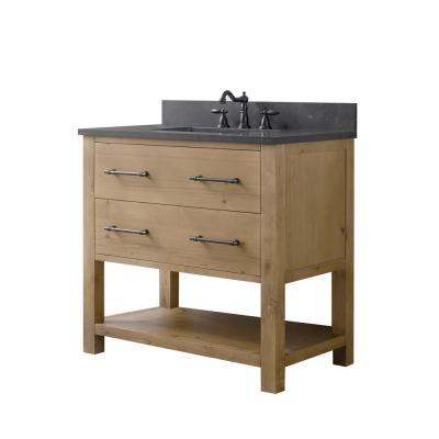 Windwood 36 in. W x 22 in. D x 34 in. H Bath Vanity in Natural with Blue Limestone Vanity Top with White Basin
