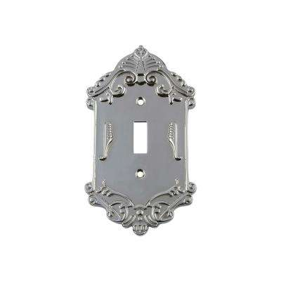 Victorian Switch Plate with Single Toggle in Bright Chrome