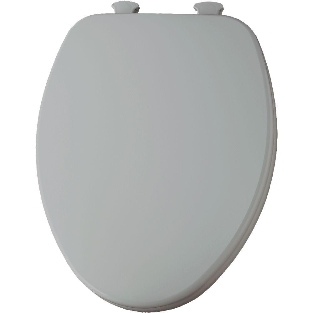 Lift-Off Elongated Closed Front Toilet Seat in Silver