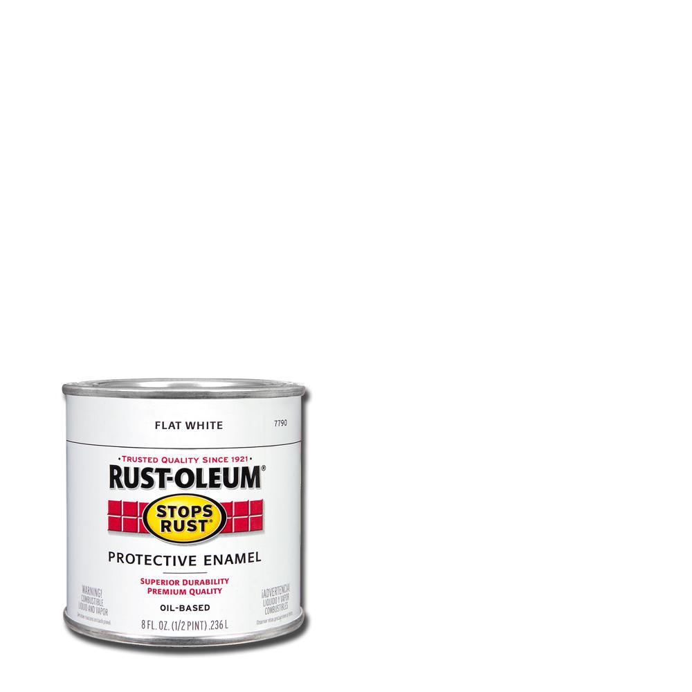 Rust-Oleum Stops Rust 8 oz  Protective Enamel Flat White Interior/Exterior  Paint