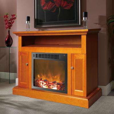 Sorrento 47 in. Electronic Fireplace in Teak