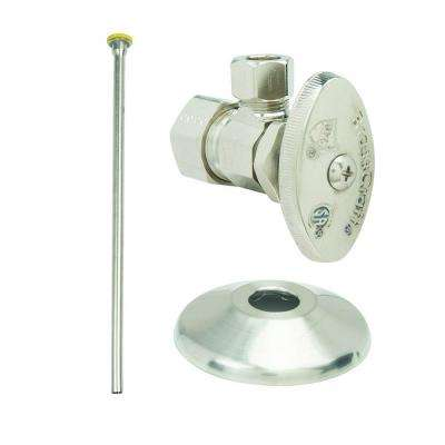 Faucet Kit: 1/2 in. Nom Comp x 3/8 in. O.D. Comp Multi-Turn Angle Valve with 12 in. Riser and Flange in Satin Nickel