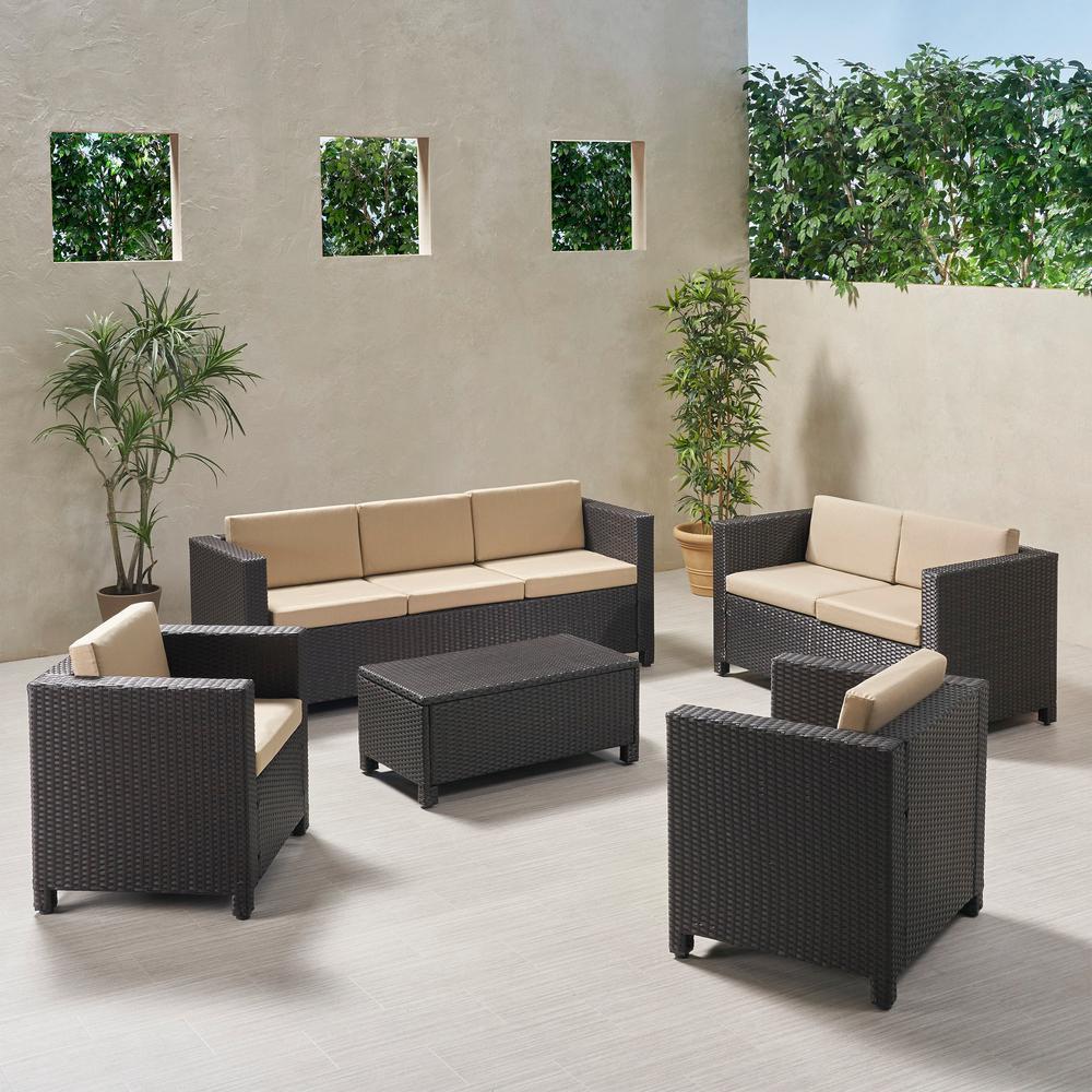 Puerta Dark Brown 5-Piece Metal Patio Conversation Seating Set with Beige Cushions