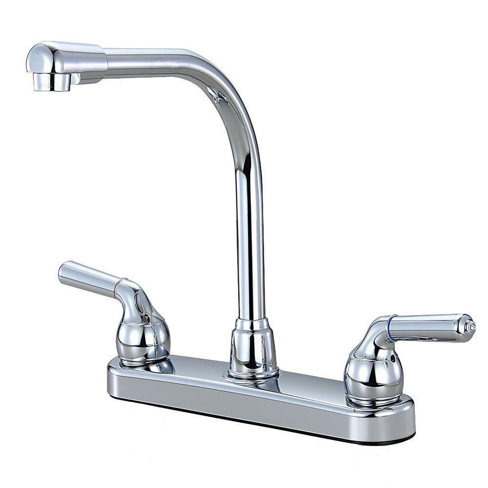 Non-Metallic 2-Handle High-Arc Kitchen Faucet in Chrome ...